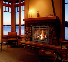 fireplace in living room of home overlooking gulf islands