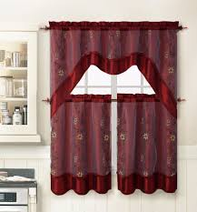 Red Kitchen Curtain Sets Maroon Kitchen Curtains 04334920170511 Ponyiexnet