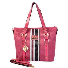 ... Coach Logo In Signature Medium Pink Totes BEU