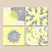 yellow and grey wall art for bathroom
