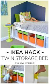 diy twin platform bed with storage made from ikea shelves to give you a ton of