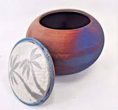 Dream Catcher Jar Palm Tree Dream Catcher Jar Raku Process Hand Thrown Pottery A 59