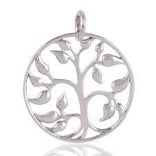 plain silver tree of life solid silver pendant