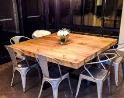 reclaimed industrial chic 6 8 seater solid wood and metal dining table bar and cafe bar restaurant furniture steel wood made to mere 283