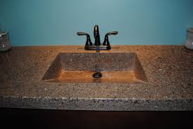 picture of concrete countertop with integrated sink and fiber optics