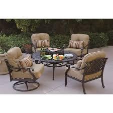 darlee nassau 5 piece patio bbq fire pit dining set in antique bronze 15114 2 ab