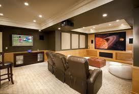 furniture for basement. Furniture:Amazing Contemporary Basement Home Theater Design Ideas With Brown Leather Sofa And Unique White Furniture For S