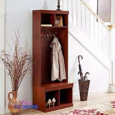 Wooden Coat Rack With Storage Entryway Wooden Hall Tree Shoe Storage Bench Coat Rack Metal Hooks 22