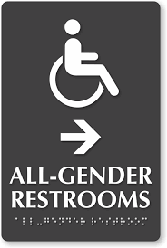 restroom directional sign. ISA All-Gender Braille Restrooms, Right Directional Sign Restroom O