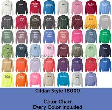 Gildan 18000 Color Chart Every Color Digital File Gildan Heavy Blend Sweatshirt Color Guide Psd Jpeg Jpg Photoshop Edit Tshirt Color Guide