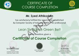 Belt Sample Certificates Lean Six Sigma India Belt Asq Green