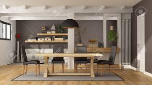 Weiß Und Braun Wohnzimmer Mit Esstisch Aus Holz Und Modernes Sofa