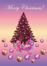 Free Christmas Greetings The Mouse Design Purple Christmas Tree With Little Live Pets