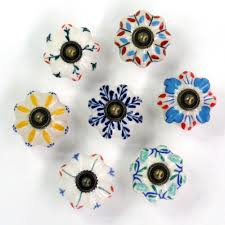 1x Ceramic Hand Painted Colorful Kids Room Door Knobs And Handles