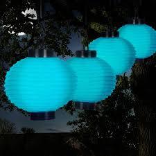 Pure Garden Outdoor Solar Chinese Lanterns LED Set Of 4 Chinese Lantern Solar Lights