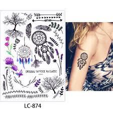 1 List Akvarel Tělo Make Up Malý Vzor Galaxie Pixel Peří Zvíře Dočasné Tetování Nálepka Krku Zápěstí Obtisk At Vova