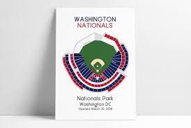 Nationals Baseball Seating Chart Washington Nationals Mlb Stadium Map Ballpark Map Baseball Stadium Map Gift For Him Stadium Seating Chart Man Cave