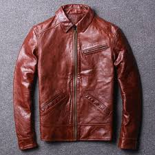 2018 men retro red genuine leather jacket plus size 3xl real cowhide men winter casual leather