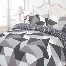 black white duvet cover. Wonderful Black Dreamscene Geometric Shapes Duvet Cover With Pillowcase Bedding Set Black  Grey Inside White B