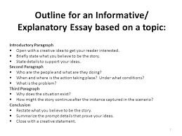 writing part the informative explanatory writing task ppt  outline for an informative explanatory essay based on a topic
