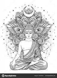 Boeddha Zittend Over Sierlijke Roze Bloem Esoterische Vintage