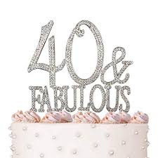 Amazoncom 40 Fabulous 40th Birthday Cake Topper Crystal
