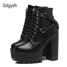 home shoes women s shoes women s boots gdgydh fashion black boots women heel spring autumn lace up soft leather platform shoes