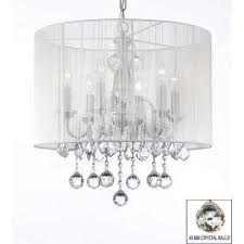 empress crystal 6 light chrome chandelier with white shade