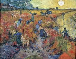painting by vincent van gogh the red vineyards at arles 1888