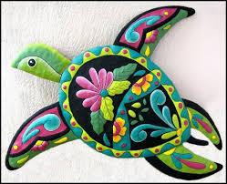 100 turtles metal wall art beach