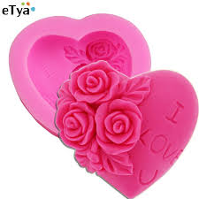 2018 whole etya i love u rose flower heart shape 3d silicone cake mold chocolate mould fondant decorating soap maker tools kitchen utensil from williem