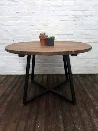 Industrial style furniture Steel Round Tapered Xframe Dining Table Industrial Style Furniture Reclaimed Wood Square One Interiors Ltd Round Tapered Xframe Dining Table Industrial Style Furniture