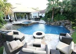 Pool Designs With Fire Pit Patio With Stone Built In Fire Pit Next