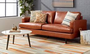 brown leather sofa set living room rug size tips