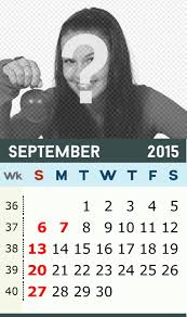 Monthly Calendar Of September 2015 In Green And Yellow Color