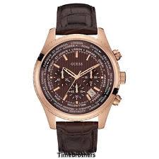 mens guess watch leather new guess watch for men chronograph brown leather strap date u0500g3