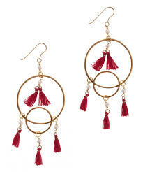 new chandelier pearl red tassel earrings