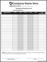 Attendance List Form Employee Attendance Sheet Template Agcrewall