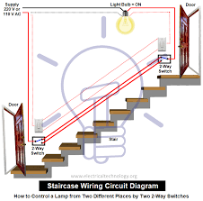 staircase wiring diagram using two way switch all wiring diagram staircase wiring circuit diagram how to control a lamp from 2 places single switch wiring staircase wiring diagram using two way switch