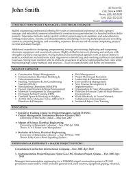 Construction Project Manager Resume Example Examples Of Resumes