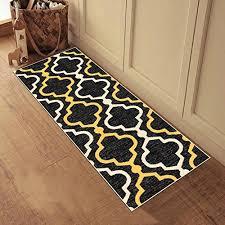 kapaqua rubber backed 20 x 59 runner rug black yellow moroccan trellis non slip kitchen bathroom entryway hallway 2x5