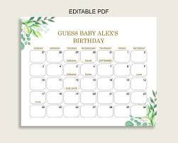 Green Gold Guess Baby Due Date Calendar Game Printable Greenery