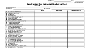 Cost Estimate Form Construction Cost Estimating Breakdown Sheet Construction Spreadsheet