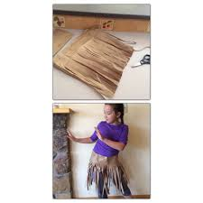 Make a grass skirt from a paper bag. Spirit Days Pinterest.