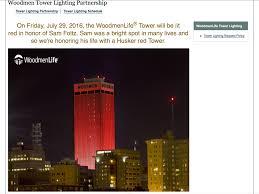 Bright Lights Omaha Ne Woodman Tower In Omaha Pats Tribute To Sam Foltz A Bright