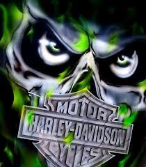 Skull Hd Logo And Green Realistic Fire Tattoo Motivy Motorrad
