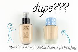 make up for ever face body foundation vs holika holika aqua jelly bb