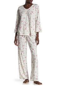 Floral Print 3 4 Sleeve 2 Piece Pajama Set