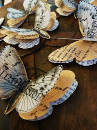 recycled vine book pages erflies