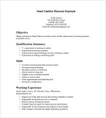 Cashier Resume Template Cashier Resume Template 16 Free Samples Examples Format